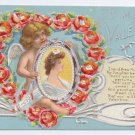 Valentine Postcard Cupid Pretty Woman Cherub Poppy Poem Heart Embossed Silver Gilding