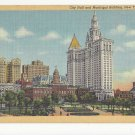 NY New York City Hall 1941 and Municipal Building Vintage  Linen Postcard
