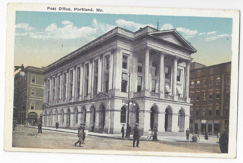Portland Maine Post Office Eastern News Co ME Postcard ca 1920