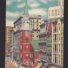 MA Boston Old South Meeting House 1950s Linen Vintage Postcard