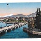Switzerland Geneva Geneve Pont du Mont Blanc Julien Freres Vintage Postcard