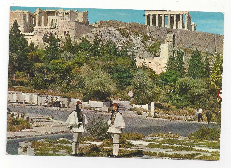 Greece Athens Royal Guards Evzone Acropolis Uniform Vintage 4X6 Postcard