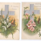 Vintage Easter Postcards Silver Gilt Cross Embossed Flowers 2X IAP Series 616