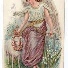 Easter Angel Lamb Lily of Valley 1911 Embossed Postcard Philadelphia Flag Cancel