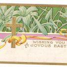 Easter Postcard Vintage 1909 Arts and Crafts Nouveau Embossed Gold Cross Lilies