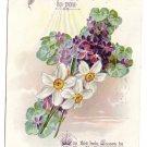 Vintage Easter Poem Postcard Raphael Tuck Embossed Cross Narcissus Violets 1910