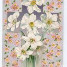 Vintage Easter Postcard Cross Embossed Narcissus Flowers Silver Gilt Background 1909 Winsch Back