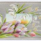 Vintage Easter Postcard Snowdrops Crocus Flowers Embossed Silver Background Raphael Tuck No 734
