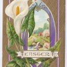Vintage Easter Postcard Calla Lily Embossed Gold Moire Gilt Nash 1914 Beaver Falls PA Flag Cancel