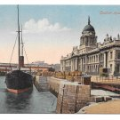 Dublin Ireland Customs House Dock Boat Ship Vintage Valentine's Postcard