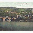 Germany Heidelberg Partie am Neckar River Old Bridge Vintage Postcard c 1910
