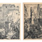 Paris France Le Pantheon Joan of Arc Taking Orleans at Stake 2 Vntg Postcards