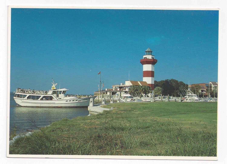 HIlton Head SC Cruise Boat Vagabond Harbour Town Light Vintage 4X6 Postcard