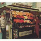 CA San Francisco Street Flower Vendor Stand Stockton and Geary Vintage Postcard