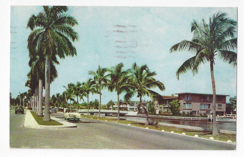 FL Fort Lauderdale Residential Street Las Olas Blvd Florida Island Homes Vtg Postcard