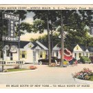 SC Myrtle Beach Smiths Motor Court Motel 1949 Cars US 17 Vintage Postard