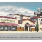 CA Hollywood California Vine St Brown Derby Restaurant and Shop Linen Postcard