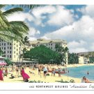HI Hawaii Waikiki Beach Honolulu Northwest Airlines Hawaiian Express Advertising Postcard