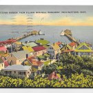 MA Provincetown Harbor from Pilgrim Memorial Monument Linen 1940 Tichnor Postcard