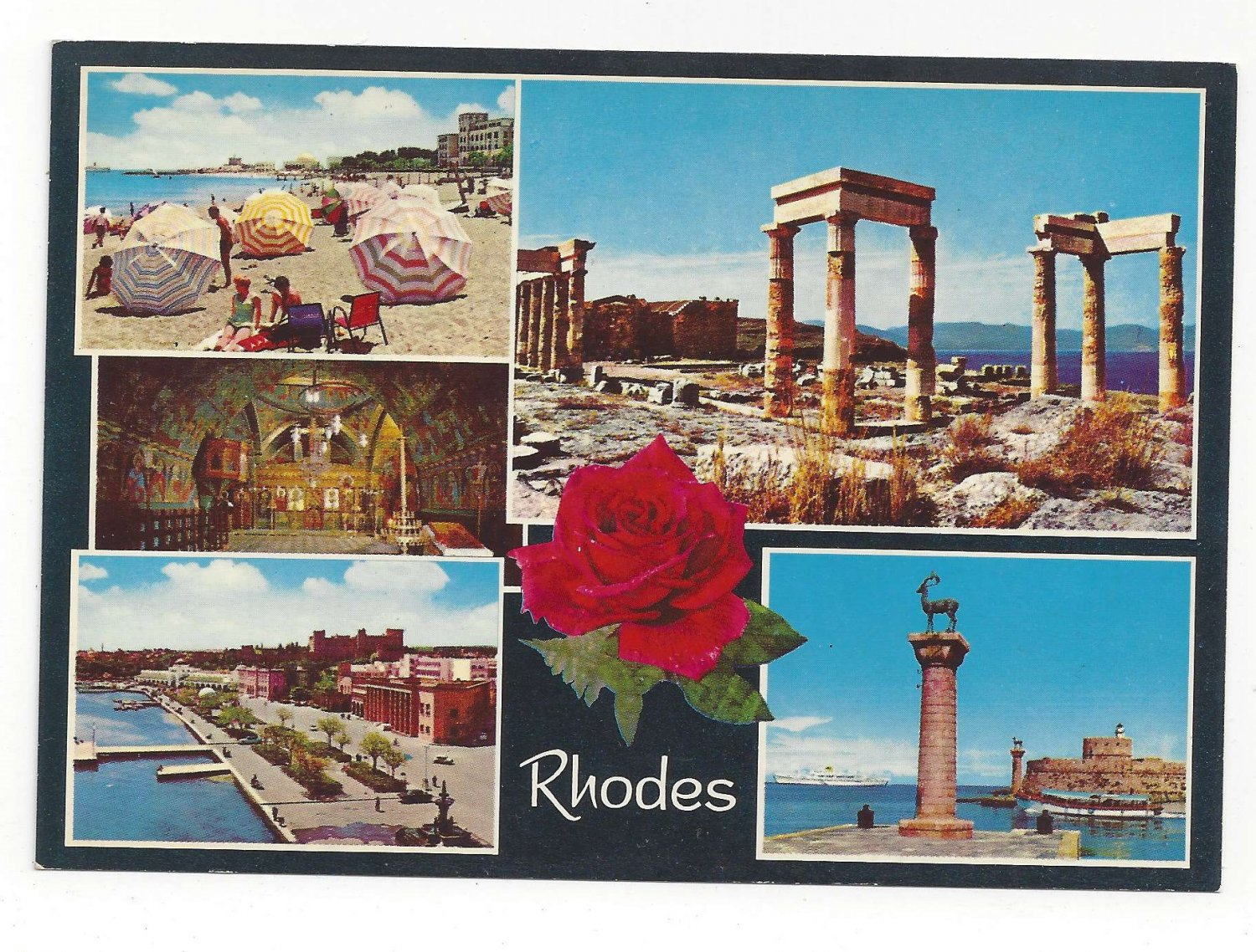 Greece Rhodes Multiview Beach Ruins Port Harbor View Vtg Postcard 4X6