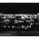 Italy Firenze Ponte Vecchio Florence Bridge at Night Glossy BW Photo Postcard 4X6
