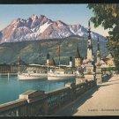 Switzerland Alps Schweizerhofquai Ships und Pilatus  E. Goetz Vintage Postcard