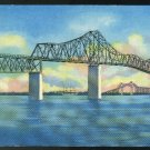 South Carolina Charleston Grace Memorial Cooper River Bridge Curteich 1952 Postcard