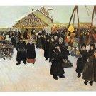 Russia Moscow Pre Lent Celebration Painting A Ribnikoz Artist Signed Yaremenko Postcard