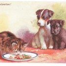 CT Howard Anticipation Puppies Kitten with Food Artist Signed Vintage J Salmon Postcard