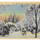Utah Salt Lake City Mormon Temple Winter Snow  Vintage Linen Postcard
