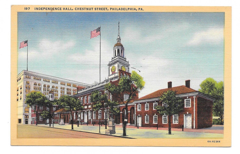 Philadelphia PA Independence Hall Curteich Vintage Linen Postcard
