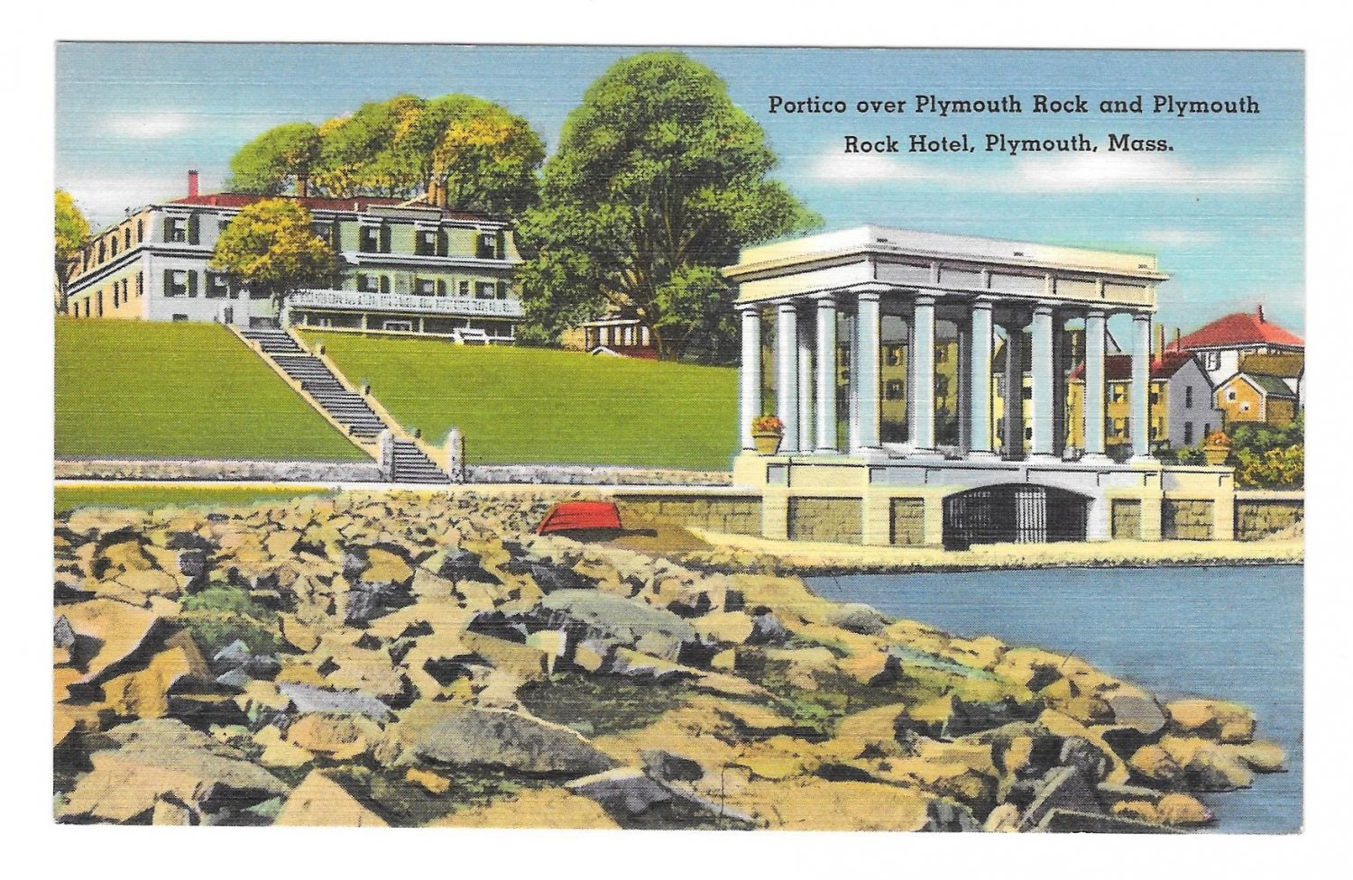 MA Portico over Plymouth Rock and Plymouth Hotel Vintage Postcard Tichnor