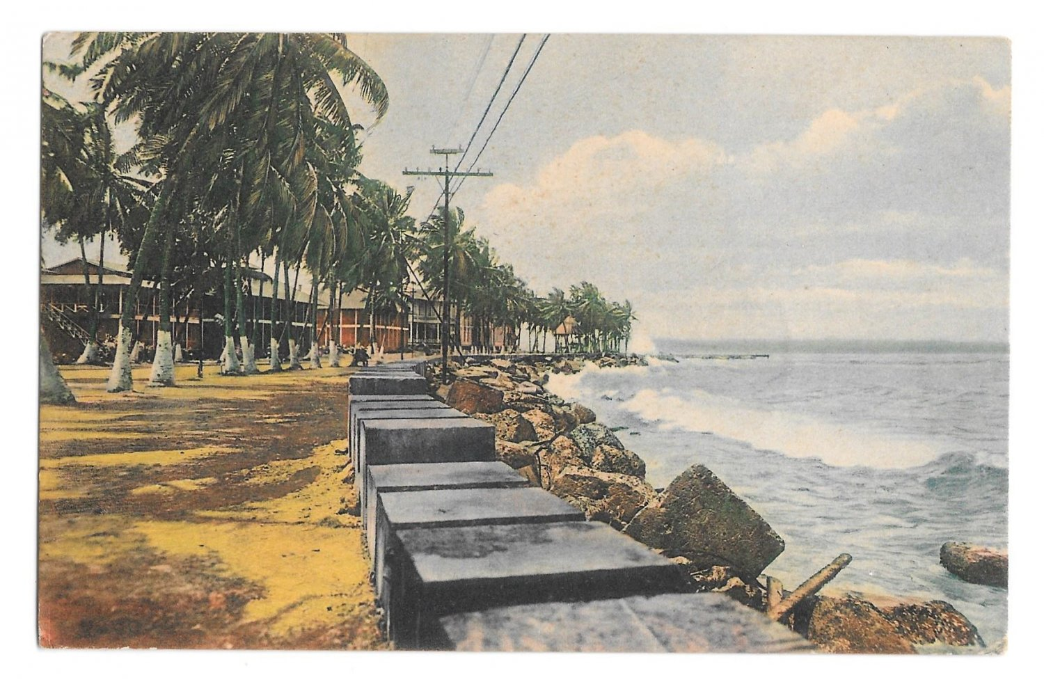 Norddeutscher Lloyd Bremen Colon Panama Entrance to Channel Vintage Postcard