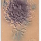 Greetings Bouquet of Flowers Airbrushed Blue on Beige Vintage Embossed Novelty Postcard