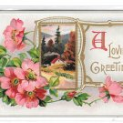 A Loving Greeting Cottage Scene Wild Roses Vintage Embossed Gilt Frame Postcard