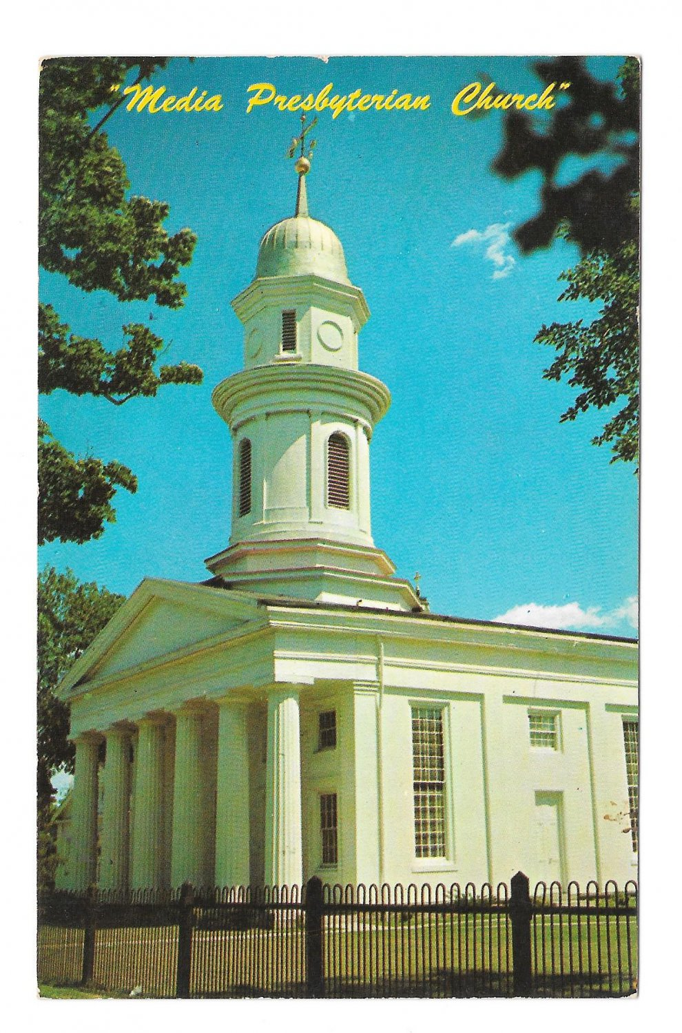 Media PA Presbyterian Church Baltimore Pike and Church St Vintage Unused Postcard