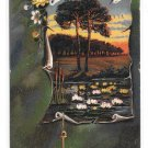 Greetings Country Pond Scene Water Lilies Anchor Embossed Vintage UDB Postcard