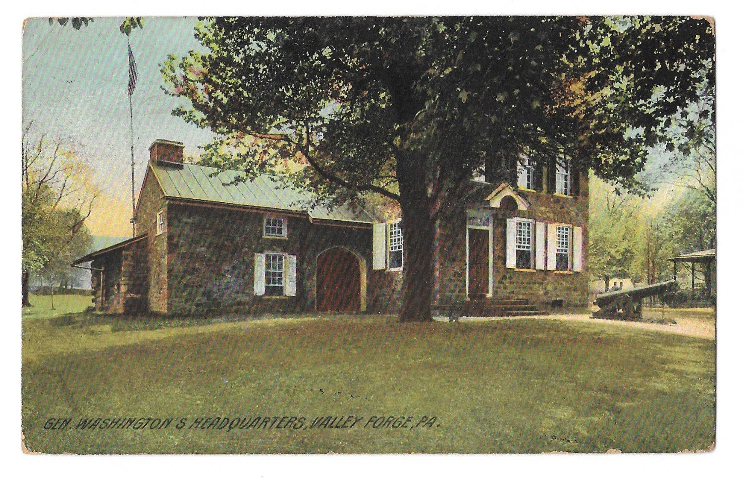 General Washingtons Headquaarters Valley Forge PA  Postcard 1909 Flag Cancel
