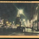 Wilshire Boulevard at Night The Miracle Mile Los Angeles CA Vintage LinenPostcard