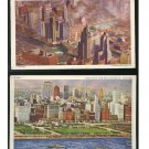 IL Chicago 2 Aerial views City of Towers Michigan Blvd Vintage Postcards