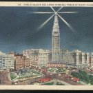 Public Square and Union Terminal Tower at Night Cleveland OH 1937 Curteich Linen Postcard