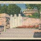 Cultural Garden Gordon Park Cleveland OH Tichnor Linen Postcard Air Mail Bi-plane slogan cancel