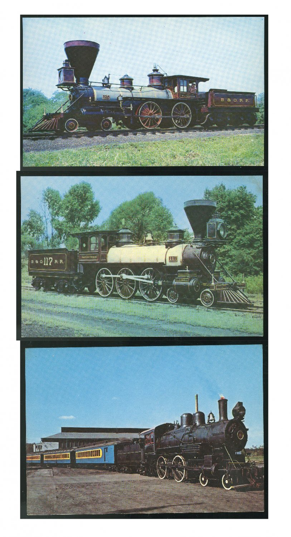 3 Train Postcards B&O RR William Mason Thatcher Perkins  Wilmington & Western Chrome