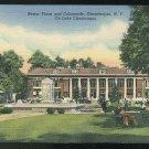 New Yoek Bestor Plaza and Colonnade Chautauqua NY ca 1947 Curteich Linen Postcard