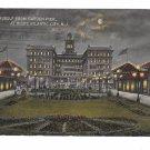 Atlantic City NJ Hotel Rudolf from Garden Pier at Night Vintage 1914 New Jersey Postcard