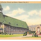 Atlantic City NJ Our Lady Star of the Sea Church Vintage Tichnor Linen New Jresey Postcard