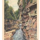 New York Down the Ausable Chasm from Devils Punch Bowl CW Hughes Vintage Linen Postcard