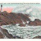 ME Portland Maine Head Light First US Lighthouse Crashing Surf Chisholm Bros Postcard