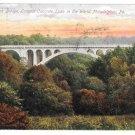 Walnut Lane Bridge Philadelphia PA Vintage 1909 Postcard West Park Station Flag Cancel