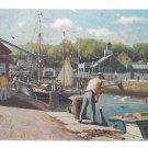 MA Harbor Fisherman Loading Bait Cape Ann Artist J Bradford Hague Vintage Postcard